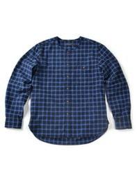 16FW COLLARLESS SHIRT BLUE CHECK
