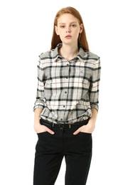그레이 소프트 브러쉬 체크 셔츠