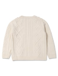 아이보리 변형 케이블 스웨터