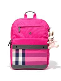 핑크 체크 배색 백팩&보조가방SET