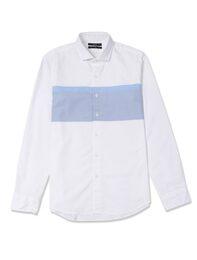 [YOUTH FIT] 가로 배색 화이트 셔츠(MK58640211)
