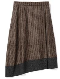 Stripe Unbalanced Volume Skirt(Yellowish Brown)