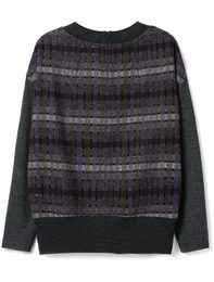 Knit color combination Punching Check Top(Violet)