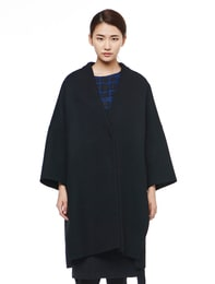 Wool Mix V-Neck Felt Coat(Black)