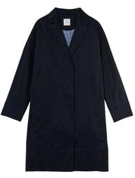 Linen Blend Drop Shoulder Coat(Blue)
