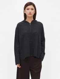 Cashmere Blend Hoody Cardigan (Ash)