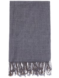 Color Combination Layered Wool Scarf(Light Grey)